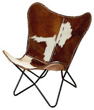 White Brown White Black Leather Butterfly Arm Chair  AA Leather Armchair