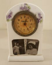 """Antique Working 19th C. Porcelain """"CRESPO"""" Mechanical Wind-up Advertising Clock"""