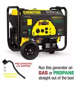 CHAMPION 4750 Watt Dual Fuel RV Ready Portable Generator With MOBILITY KIT