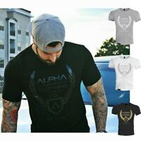 Men's ALPHA Fitness Gym Muscle Cotton Round Neck Training Sport T-shirt Tee
