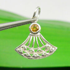 Oriental Fan Gemstone Pendant Natural Citrine, Genuine 925 Sterling Silver - P97