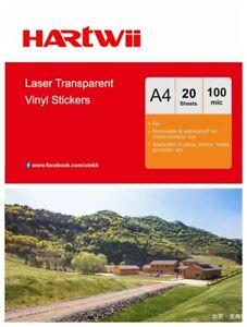 A4 Laser Print Film Clear Vinyl 100% Waterproof Label Sticker  20Sheet Hartwii