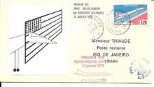 ENVELOPPE THIAUDE 1er JOUR VOL CONCORDE  PARIS  RIO 1976 AIR FRANCE