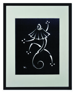 "Frill-Necked Lizard White Matted Print 11""x14"", framed or unframed."
