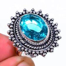 Awesome Blue Topaz Gemstone Ethnic 925 Sterling Silver Jewelry Ring Size 6.5
