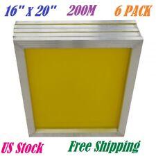"""6 PACK 18""""x20"""" Aluminum Frame Silk Screen Printing Screens 200 Mesh Count Yellow"""