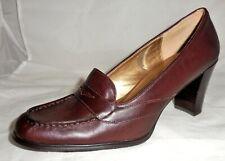 "New NINE WEST Womens Sz 9 M BURGUNDY Leather 3.25"" Block Heels Penny Loafers"