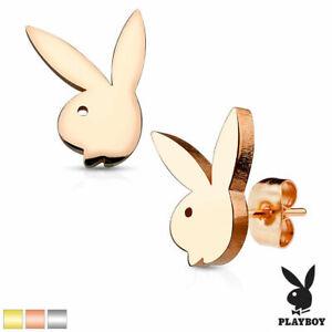 New Pair **GENUINE PLAYBOY** Bunny Steel Stud Earrings - Rose Gold Bunny Logo