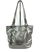 B Makowsky Hobo Handbag Silver Metallic Leather Shoulder Bag Purse