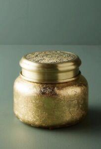 NEW Anthropologie Capri Blue Spiced Cider GOLD Foil Glass Jar Soy Candle 19 oz