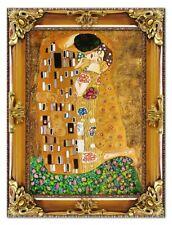 Gustav Klimt-Der Kuss-47x37 Ölgemälde Handgemalt Leinwand Rahmen Signiert G06154