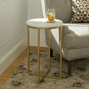 Walker Edison Round Side Coffee Table, Gold Metal White Marble