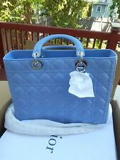NEW CHRISTIAN DIOR bag Lady Dior sky blue Patent leather large with box $4440