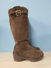 COBBLER BROWN SUEDE LEATHER CROCS WINTER FALL BOOTS WEDGE COMFORT GIFT BUCKLE 8