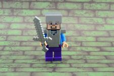 Lego Mini Figure Minecraft Steve Flat Silver Helmet and Armor from Set 21118