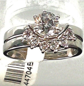 Ladies Wedding Band Ring Set Solitaire sizes 5 8 Silver Plated