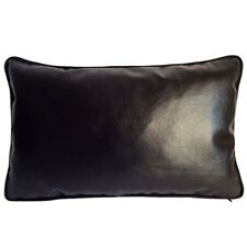 """Faux Leather Solid Black 12""""x20"""" Home Decor Couch Sofa Pillow Case/Cushion Cover"""