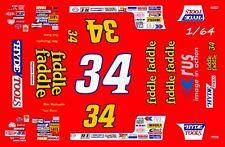 #34 GWYN STALEY ALAMANCE MOTORS 1//64th HO Waterslide Decals Slot Car