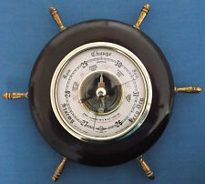 SHIPS WHEEL WOOD CASED SHORTLAND BOWEN SB ANEROID BAROMETER
