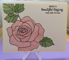 "Card Kit Set Of 4 Stampin Up Rose Wonder Watercolored ""Beautiful Blessing"""