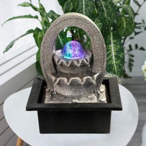 LED Tisch Spring Brunnen RGB Farbwechsel Kugel Lampe Wohn Zimmer Dekoration grau
