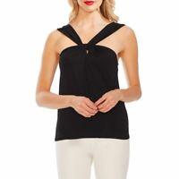 VINCE CAMUTO NEW Women's Dusty Blue Twist Front Halter Blouse Shirt Top M TEDO