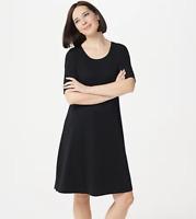 Isaac Mizrahi Live! Regular Essentials Pima Cotton Elbow- Sleeve Dress -Black/XL