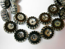 "Black 5 Lampwork Handmade Glass /""Water Flower/"" Disc Beads"