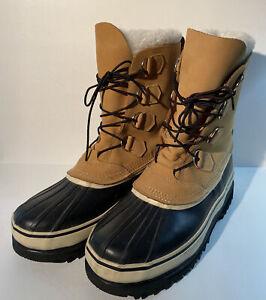 Cabella's Men's 12 Tan Leather Black Rubber Rain Winter Mountain Boots 83-0145