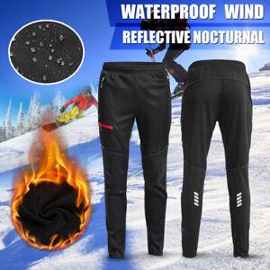Mens Cycling Pants Windstopper Rainproof Winter Warm Casual Fleece Trouser