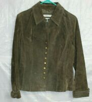 Coldwater Creek Womens Suede Genuine Leather Green Jacket Button Size M Coat