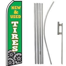 New & Used Tires Green / White Swooper Flag & 16ft Flagpole Kit/Ground Spike
