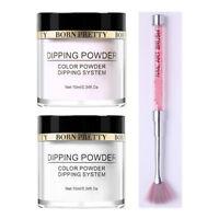 3Pcs 10ml BRON PRETTY Clear Dipping Glitter Powder Long Lasting Nail Art Brush