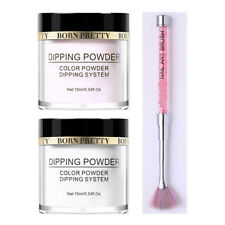 3Pcs 10ml BORN PRETTY Clear Dipping Powder Long Lasting French Nail Art Brush