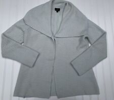 Talbots Pure 100% Cashmere Cardigan Sweater Small Striped Light Blue Ivory