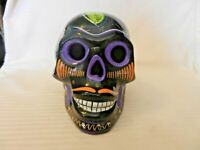 """Black Ceramic Day Of The Dead Skull Multi Colored Hand Painted 6"""" Tall"""
