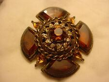 CAPRI Maltese Cross Brooch Pin gold tone chain, teardrop & fan amber rhinestones