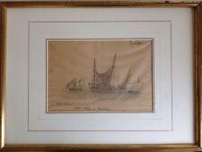 David SUTTER 1811-1880.Le Chasse-marée.Dessin au crayon.Signé.14x20.Cadre.