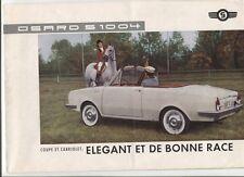 N°9802 /  dépliant coupé et cabriolet Glas Isard S 1400   modéle 1963  français
