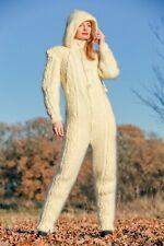 Ivory cable knit catsuit mohair bodysuit handknit fuzzy soft bodysuit Supertanya