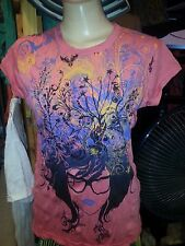 Lady T SHIRT Pure Concept 100 Cotton Lady Butterfly Love Art Summer Retro  S New