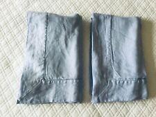 Set/ 2 100% Linen Standard Pillow Shams Lightweight Hemstitch Blue