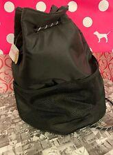 Victoria's Secret Pink Drawstring Backpack Mesh String Bag Pure Black