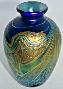 An iridescent Vase from Paul C Brown Lanmara Glass Caithness Scotland