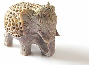 Stone Lucky Baby Elephant Figurine Animal Statue in Jali Or Openwork Home Decor
