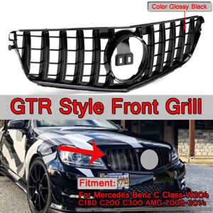 AMG GT R Style Black Front Grille Grill For Mercedes Benz C Class W204 C200/300