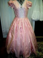 Civil War/Victorian Era Day Gown of Coal Print on Ivory Backcground, Size 16