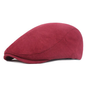 Men's Cotton Warm Soft Golf Driving Beret Newsboy Hat Cabbie Winter Flat Ivy Cap