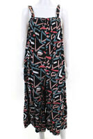 The Odells Womens Smocked Front Jumpsuit Black Pink Size Extra Small 12274835
