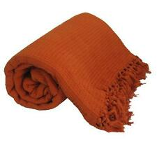 X LARGE TERRACOTTA 100% Cotton SOFA BED Throw 260x260